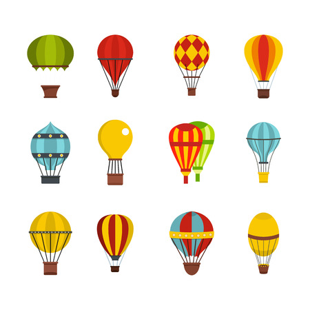 Air balloon icon set, flat style illustration.