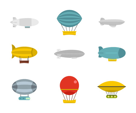 Airship icon set. Flat set of airship vector icons for web design isolated on white background.