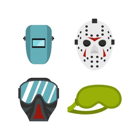 Protect mask icon set, flat style illustration.