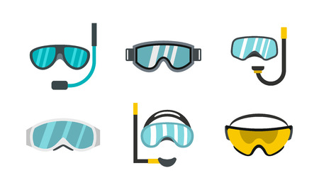 Sport glasses icon set, flat style illustration.