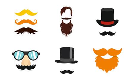 Mustache icon set, flat style illustration. Illustration