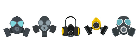 Gas mask icon set. Flat set of gas mask vector icons for web design isolated on white background