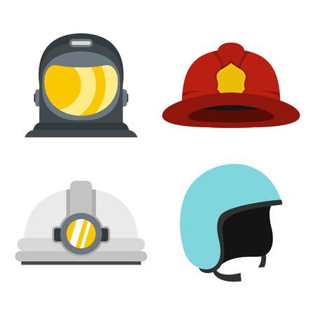 Helm-Icon-Set. Flacher Satz Sturzhelmvektorikonen für das Webdesign lokalisiert auf weißem Hintergrund