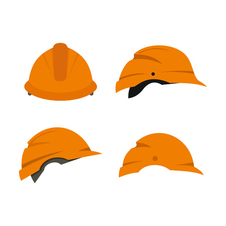 Construction helmet icon set. Flat set of construction helmet vector icons for web design isolated on white background
