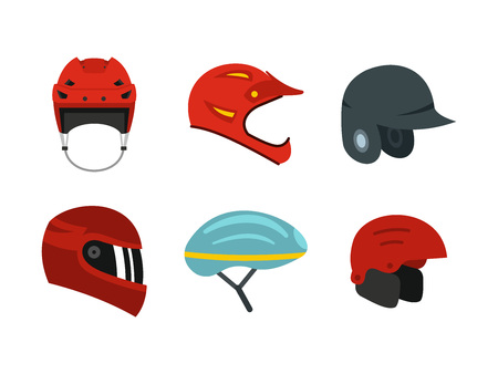 Sport helmet icon set, flat style illustration.