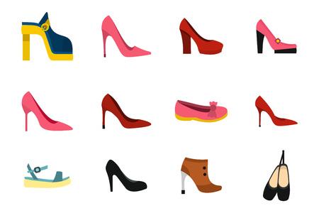 Woman shoes icon set, flat style