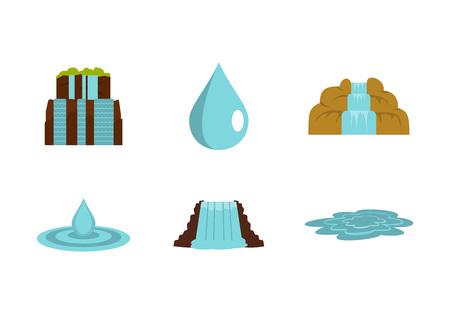 Water nature icon set, flat style Illustration