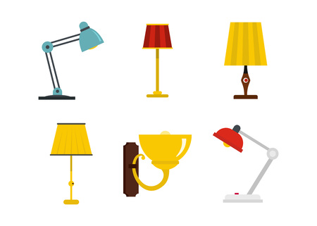 Home lamp icon set, flat style