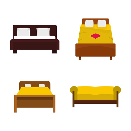 Bed icon set, flat style
