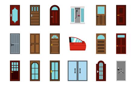 Door icon set, flat style
