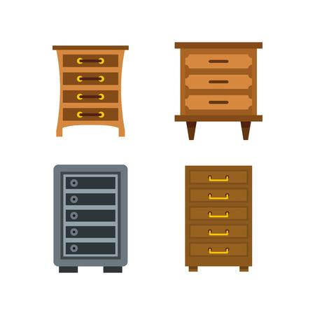 Drawers icon set, flat style