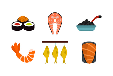 Fish food icon set. Flat set of fish food vector icons for web design isolated on white background Illustration
