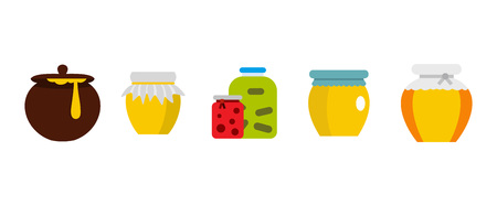 Jar icon set. Flat set of jar vector icons for web design isolated on white background