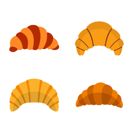 Croissant icon set, flat style illustration. Illustration
