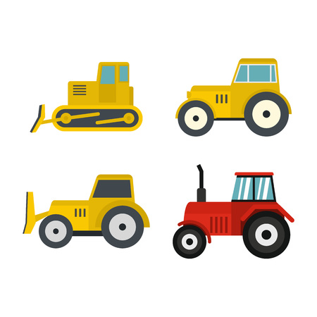 Tractor icon set, flat style illustration.