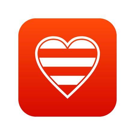 Heart LGBT icon digital red illustration.