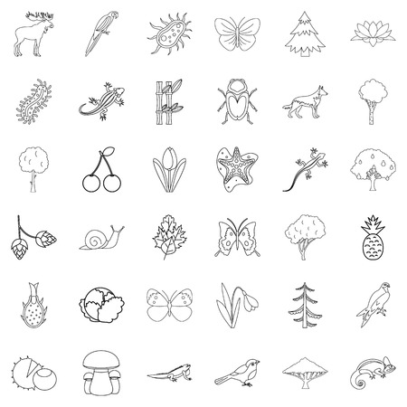 Climate icons set, outline style illustration.
