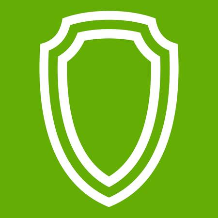 Army shield icon white isolated on green background. Vector illustration.