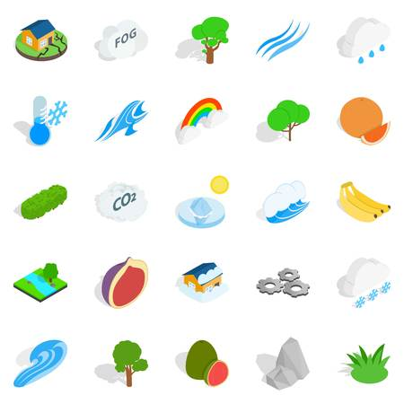 Clean air icons set. Isometric set of 25 clean air vector icons for web isolated on white background Vettoriali