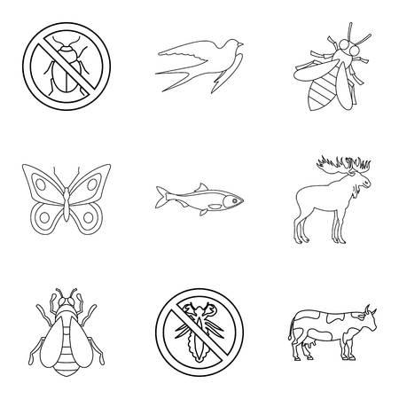 Animal kingdom icons set. Outline set of 9 animal kingdom vector icons for web isolated on white background