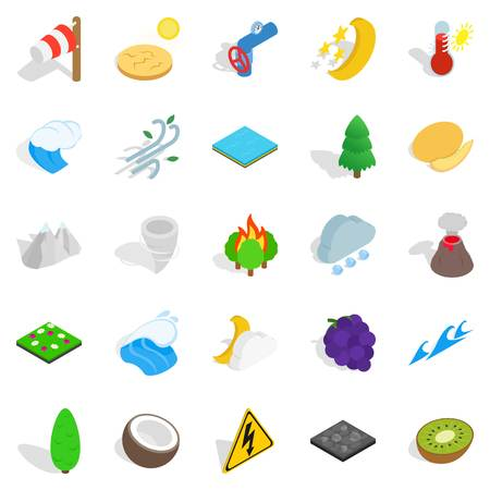 Nature activity icons set. Isometric set of nature activity vector icons for web isolated on white background