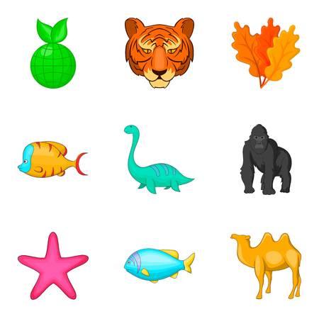 Animal world icons set. Cartoon set of animal world vector icons for web isolated on white background