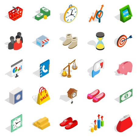 Assistance to business icons set, isometric style Illustration