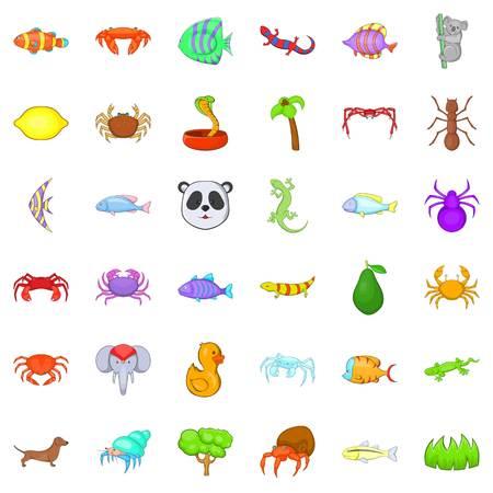 Spider icons set, cartoon style