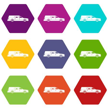 Hearse icon set color hexahedron