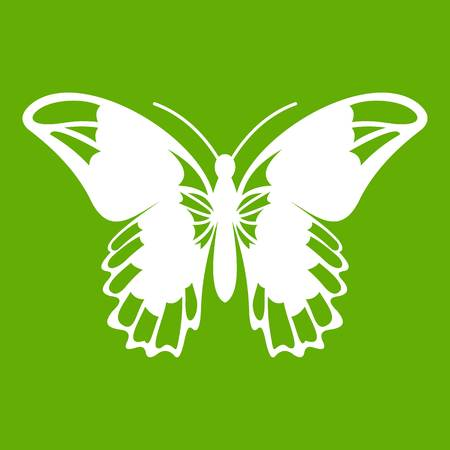 Admiral butterfly icon white isolated on green background. Vector illustration