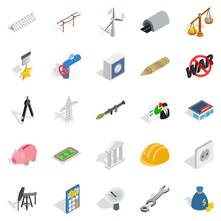 Financing icons set, isometric style