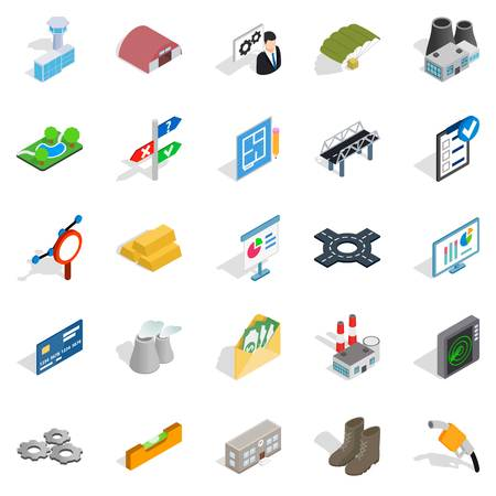 Financing of project icons set, isometric style