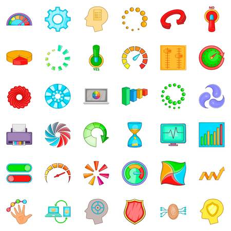 Circular icons set. Cartoon style of circular vector icons for web isolated on white background
