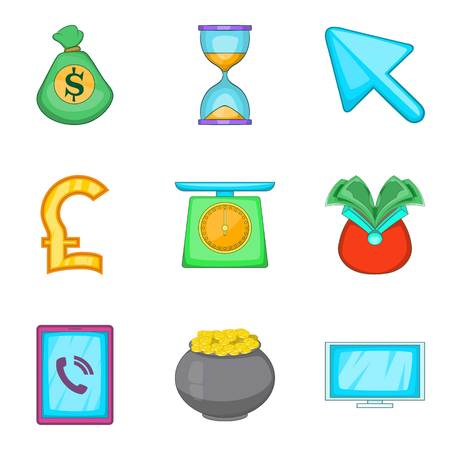 Financial assistance icons set, cartoon style