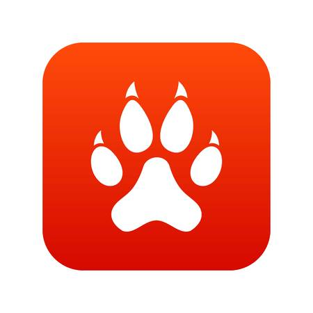 Cat paw icon digital red for any design isolated on white vector illustration