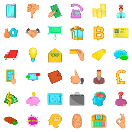 Bank icons set, cartoon style Illustration