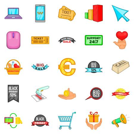 Online deal icons set, cartoon style