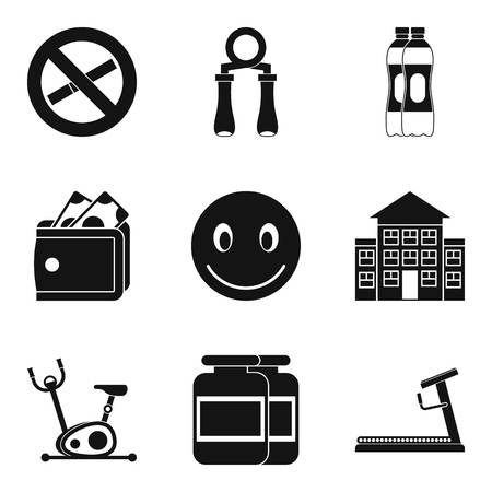 Fitness salon icons set, simple style