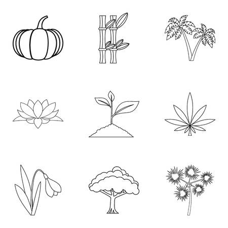 World of plant icons set. Outline set of 9 world of plant vector icons for web isolated on white background Standard-Bild - 93840548