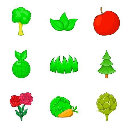 Herb icons set. Cartoon set of 9 herb vector icons for web isolated on white background