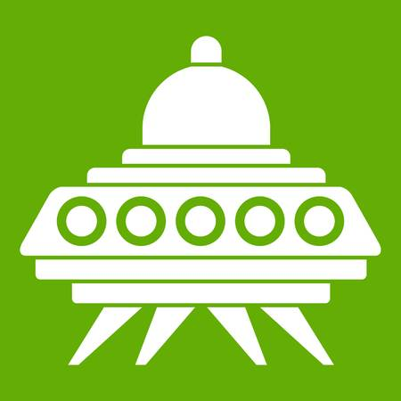 Alien spaceship icon white isolated on green background. Vector illustration