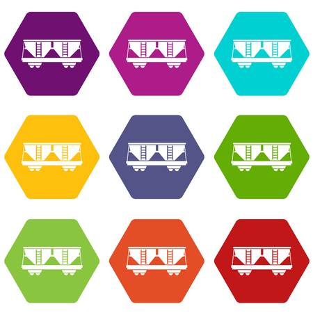 Freight railroad car icon set many color hexahedron isolated on white vector illustration