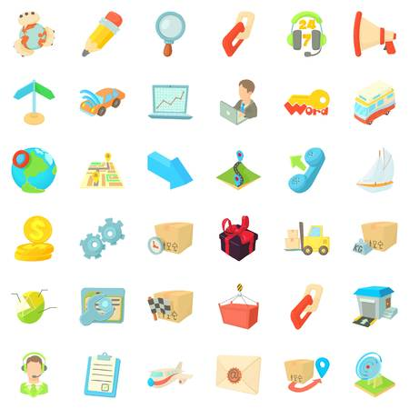 Support icons set. Cartoon style of 36 support vector icons for web isolated on white background Illustration