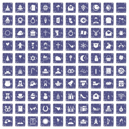100 religious festival icons set in grunge style sapphire color isolated on white background vector illustration Illustration