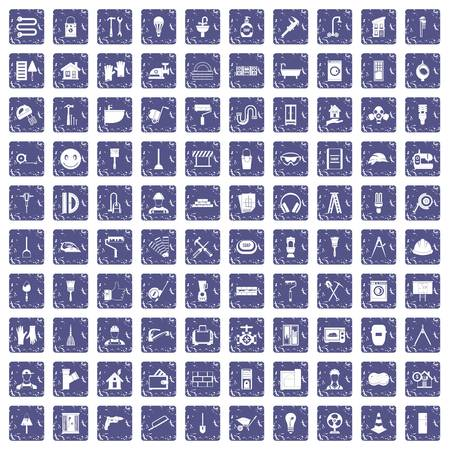 100 renovation icons set in grunge style sapphire color isolated on white background vector illustration