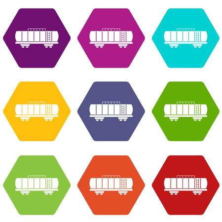 Oil railway tank icon set many color hexahedron isolated on white vector illustration