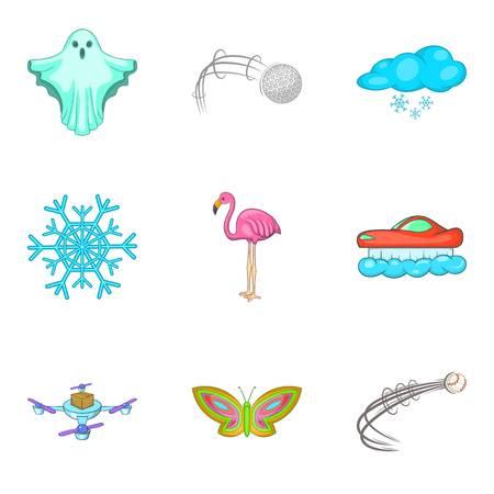 Fly cruise icons set, cartoon style