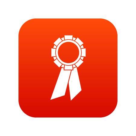 Champion medal icon digital red Illustration