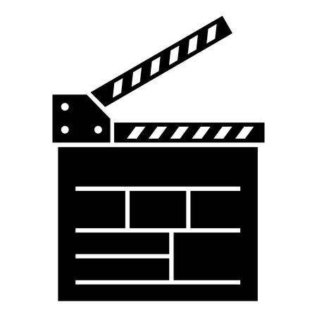 Movie cracker icon, simple black style Vectores