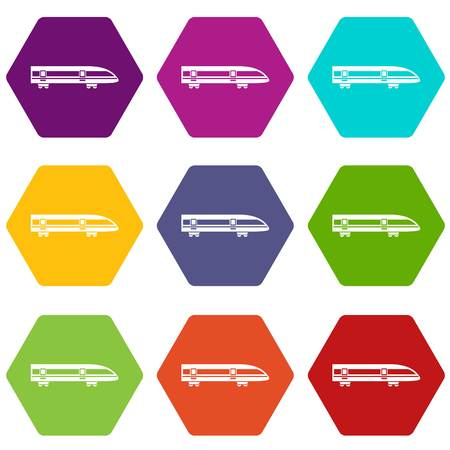 Modern high speed train icon set color hexahedron illustration.